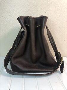 VINTAGE COACH Dark Brown Leather Drawstring Bucket Bag Purse No H1D-9165