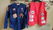 Vintage Boy Scout Uniform Shirt Vest Patches Webelos Bicentennial Cub BSA