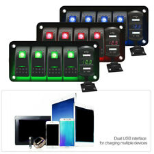 5 Gang Toggle Rocker LED Switch Panel Dual USB for Car Boat Marine RV Truck
