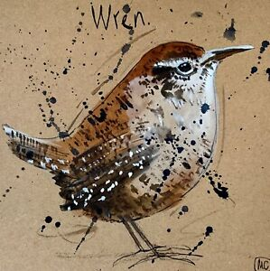 WREN - BRITISH GARDEN BIRD HAND PAINTED CARD NATURE - WILDLIFE ART