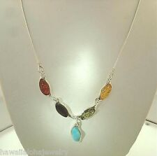 "STER Silver Genuine Baltic Sea Mixed Marquise Amber Larimar Gems Necklace 18"" #2"