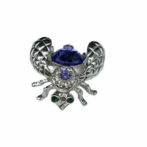Joan Rivers Insect Bug Bumble Bee Pin Brooch Purple Crystal Stone Silver Tone