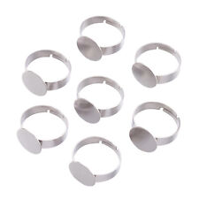 5PC Adjustable Square Glue Pad Brass Ring Blanks Antique Bronze Findings 17x19mm