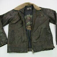 Aeropostale Men's Size Medium Dark Brown Faux Leather Jacket Good condition!