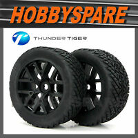 SET OF 2 RC 1/8 TRUCK WHEEL & TYRE w INSERT ONROAD THUNDER TIGER eMTA KROCK 17mm
