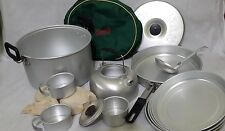 VINTAGE COLEMAN 4 MAN MESS KIT - ALL ALUMINUM COOK SET WITH NYLON CARRY SACK
