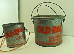 Lot Of 2 Vintage Old Pal Galvanized Minnow Bait Buckets Fishing Buckets