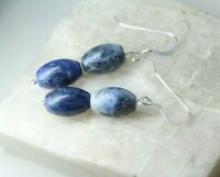 Sodalite Blue & White 8mm x 12mm Barrel Gemstone .925 Sterling Silver Earrings