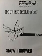 """Homelite T-7 T-8 Lawn Tractor 32"""" ST Snow Thrower Implement Owner & Parts Manual"""