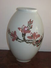 LARGE JAPANESE STUDIO POTTERY VASE PAINTED PRUNUS
