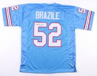 DR. DOOM Robert Brazile Signed NFL Houston Oilers Football Jersey  ~Beckett COA~