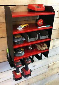 4 Tool Drill Shelfing Unit Storage Garage DIY Handy Man Workshop Impact Tools