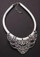 Grandeur Chrome Flower & Clear Diamanté Dove White Chord Bib Necklace(Ns13)