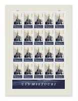 USS Missouri Sheet of Twenty Forever Postage Stamps Scott 5392