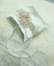 wedding ring pillow with pink flowers, pillow for rings