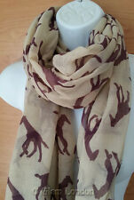 GIRAFFE PRINT SCARF Purple Cream Wrap Soft Ladies Design Scarves GLAM-LONDON
