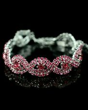 AUSTRIAN CRYSTAL  PINK BRACELET WOMENS PROM WEDDING BIRTHDAY  (0415)