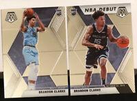 2019-20 Panini Mosaic Brandon Clarke Rookie RC #207 & #277 NBA DEBUT - LOT OF 2