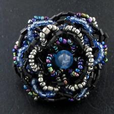 "1 1/2"" ADJ SIZE 6-11 BLACK BLUE HEMATITE FLOWER HANDCRAFTED SEED BEADS ring"