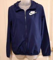 Nike Full Zip Windbreaker Jacket Men's Size XL Junior Blue spelled out swoosh
