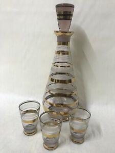Vintage Set of Purple Genie Bottle Decanter Stopper Gold Flashed Shot Glass Set
