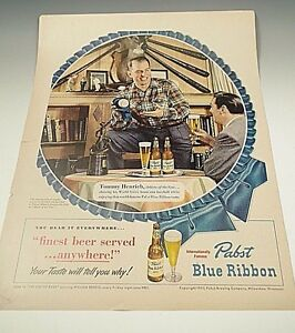 TOMMY HENRICH YANKEES 1950 PABST BLUE RIBBON BEER ADVERTISEMENT BASEBALL