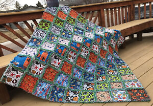Rag quilt All Sport large throw all flannel  handmade USA #201