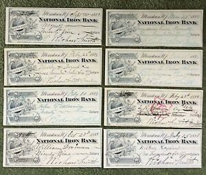 Lot of (8) 1880's Checks. National Iron Bank Morristown NJ Ornate w/Perched Bird