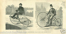 Costume Velo cycling velocipede Mac-Donald & Samuel USA GRAVURE OLD PRINT 1869