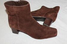 Nine West Brown Suede 8 M  Side Zip Heel Ankle Boots SHOES