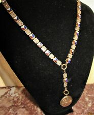 RARE Victorian Gold Fill Book Chain Necklace & 9k Gold Front & Back Photo Locket