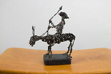Artist C. Serraty Wire Sculpture - Man On A Horse With A Lasso Domican Republic