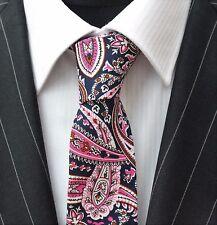 Tie Neck tie with Handkerchief Slim Dk Blue Pink Paisley Quality Cotton MTC09
