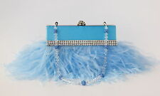 Powder Blue Ostrich Feather Evening Purse with Swarovski & Pave' Crystal Handle