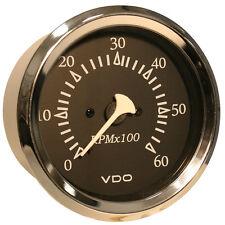 "VDO Allentare Black 6000RPM 3-3/8"" (85mm) Sterndrive Tachometer - 12V - Chrome B"