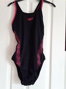 speedo swim costume black and pink size 16/38