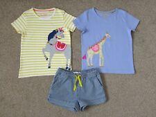 Girls MINI BODEN Horse Giraffe Tops Stripped Heart Pocket Shorts, Size 5-6 years