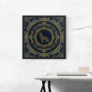 Wall art, Wolf made of golden lace, Framed picture, Home decoration