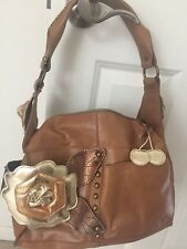 Cognac Leather Beverly Feldman Handbag with gold coin purse, great conversation