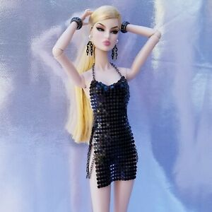 Fashion Royalty NuFace Poppy Integrity Toys Accessories Metal Mesh Dress BLACK