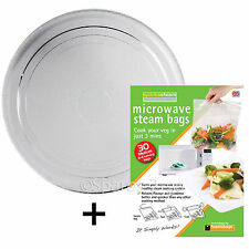 Smooth Flat Glass Turntable Plate Dish for AEG Microwave 270mm + Steam Bags
