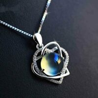 "Moonstone & Diamonds 14k White Gold Over 2.80Ct Heart Pendant 18"" Chain Necklace"