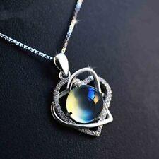 "Moonstone & Diamonds 14k White Gold Over 2.80Ct Heart Pendant 18"" Chain Necklace"