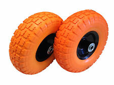 2 x 10'' FLAT FREE TUBLES TIRE WHEEL FOR HAND TRUCK DOLLY GO KART WAGON NEW
