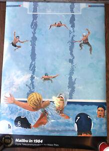 Vtg 24x35 Malibu In 1984 Water Polo GTE Ad Olimpic Poster RARE