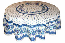 """Le Cluny 70"""" Round 100% Cotton Tablecloth - Lisa White & Blue"""