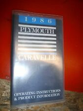 1986 Plymouth Caravelle Original Factory Operators Owners Manual Clean