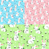 Polycotton Fabric Bunnies In Bows Floral Flower Bunny Rabbit Craft Material