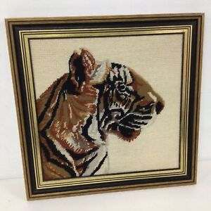 Framed Hand Stitched Tiger Wool Tapestry #209