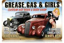 Grease, Gas & Girls Pin-Up Metal Sign